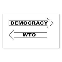Democracy vs WTO Sticker (Rectangle)