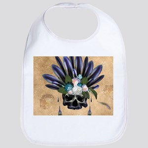 Amazing skull with feathers and flowers Baby Bib