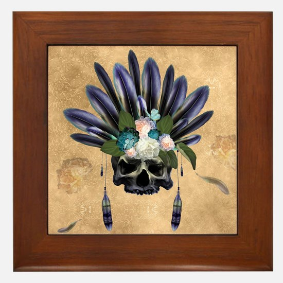 Amazing skull with feathers and flowers Framed Til