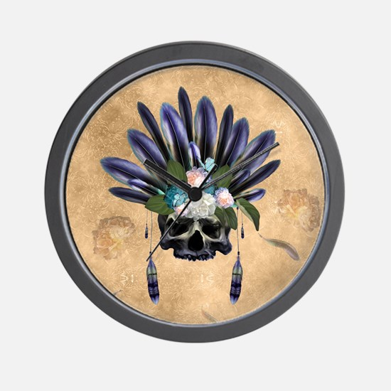 Amazing skull with feathers and flowers Wall Clock