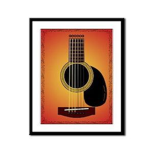 acoustic guitar cherry sunburst Framed Panel Print