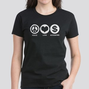 Peace Love Accounting Women's Dark T-Shirt