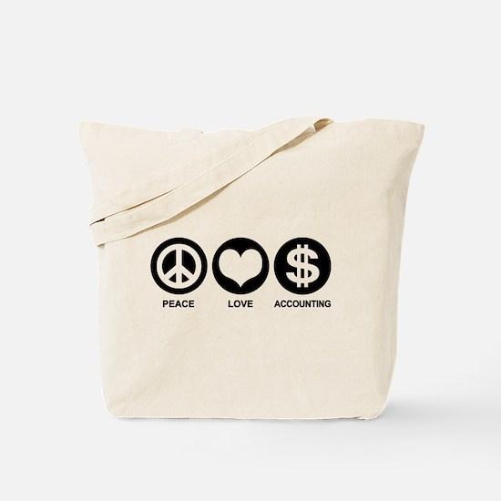 Peace Love Accounting Tote Bag