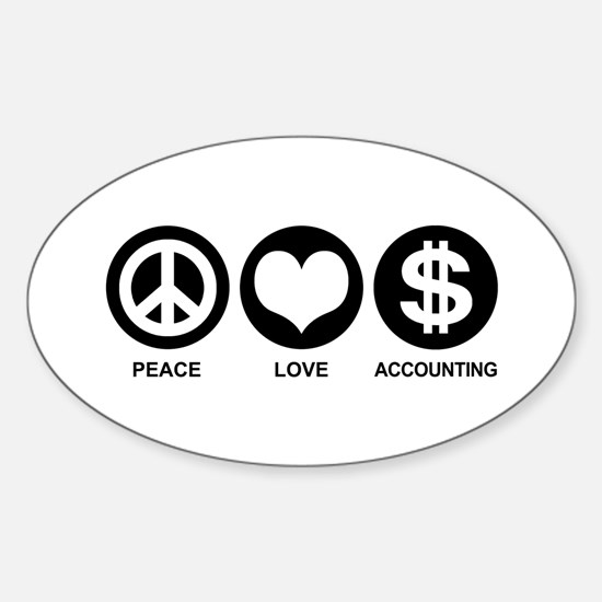 Peace Love Accounting Sticker (Oval)