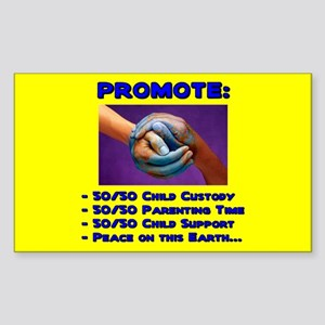 Promote 50/50 World Blue Rectangle Sticker
