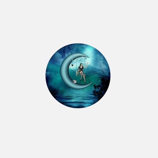 Fairy on a moon over the sea Mini Button