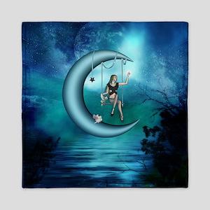 Fairy on a moon over the sea Queen Duvet