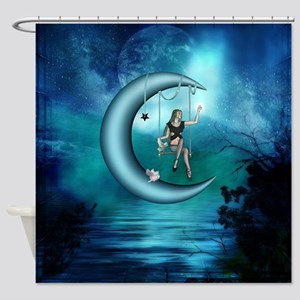 Fairy on a moon over the sea Shower Curtain