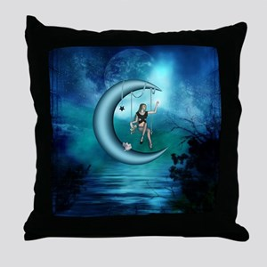 Fairy on a moon over the sea Throw Pillow