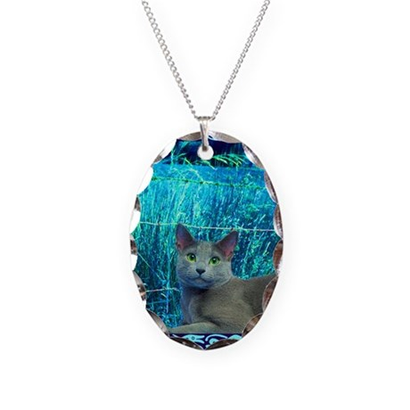Russian Blue Cat Necklace Oval Charm