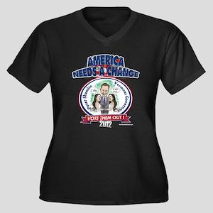 """""""Shumlin"""" Women's Plus Size V-Neck Dark T-Shirt"""