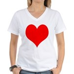 Red Heart Women's V-Neck T-Shirt