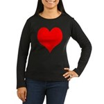 Red Heart Women's Long Sleeve Dark T-Shirt