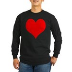 Red Heart Long Sleeve Dark T-Shirt