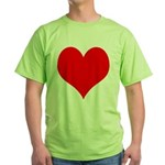 Red Heart Green T-Shirt