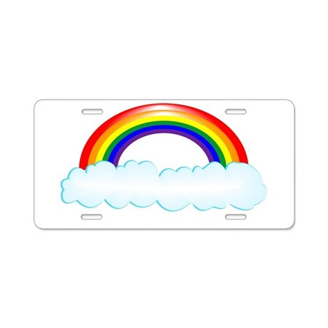 Rainbow with clouds Aluminum License Plate