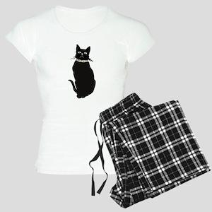 Black Cat Staring Women's Light Pajamas
