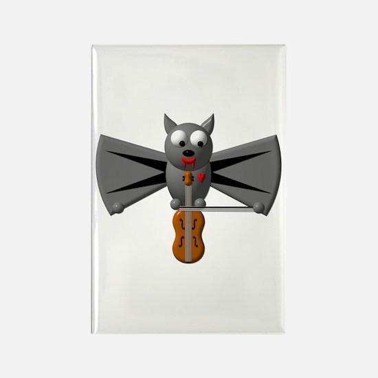 CUTE VAMPIRE BAT WITH VIOLIN Rectangle Magnet