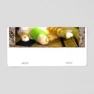 Kitten with a leg cast Aluminum License Plate