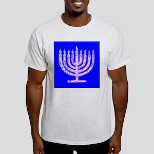 Blue Hanukkah Menorah Designer Men's Light T-Shirt