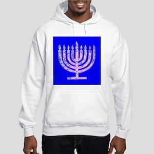 Hanukkah Menorah Blue Hoodie Hooded Sweatshirt