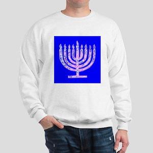 Hanukkah Menorah Lights Blue Designer Sweatshirt