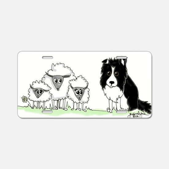 Cute Border collie Aluminum License Plate