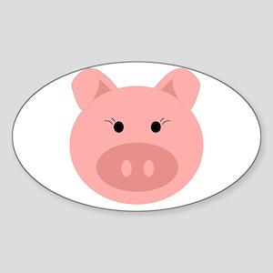 Cute Pig Sticker (Oval)