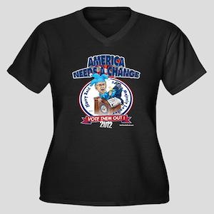 """Dirty Harry"" Women's Plus Size V-Neck Dark T-Shir"