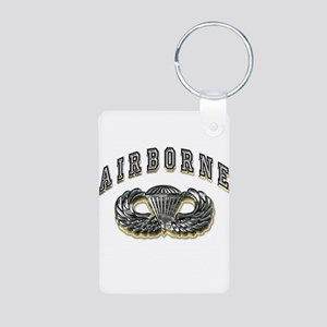 US Army Airborne Wings Silver Aluminum Photo Keych
