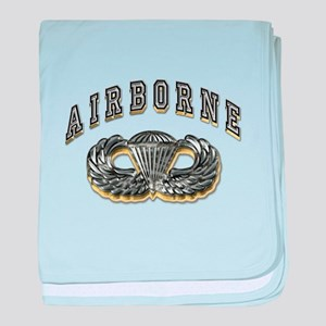 US Army Airborne Wings Silver baby blanket