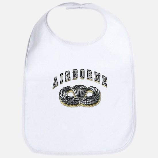 US Army Airborne Wings Silver Bib