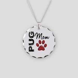 Pug Mom 2 Necklace Circle Charm