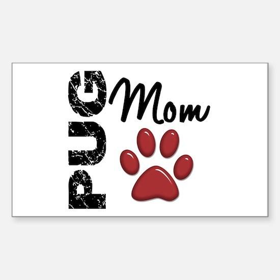 Pug Mom 2 Sticker (Rectangle)