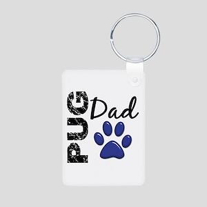 Pug Dad 2 Aluminum Photo Keychain