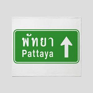 Pattaya Thailand Highway Sign Throw Blanket