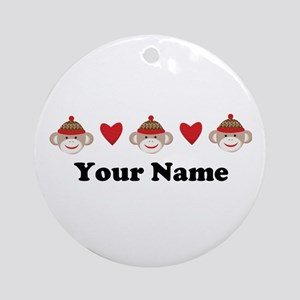 Personalized Sock Monkey Ornament (Round)