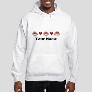 Personalized Sock Monkey Hooded Sweatshirt