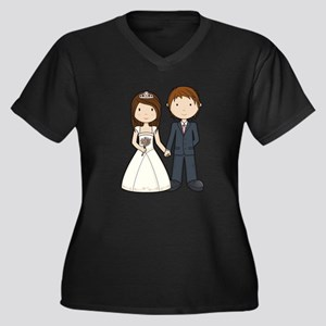Wedding Couple Women's Plus Size V-Neck Dark T-Shi