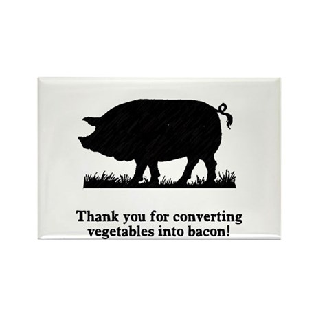 Pig Vegetables Into Bacon Rectangle Magnet