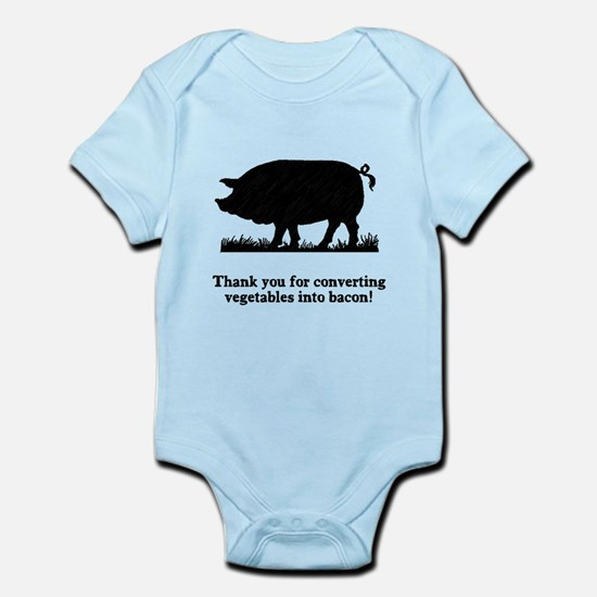Pig Vegetables Into Bacon Infant Bodysuit