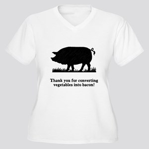 Pig Vegetables Into Bacon Women's Plus Size V-Neck