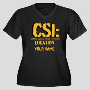 Customizable CSI Women's Plus Size V-Neck Dark T-S