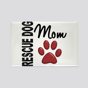 Rescue Dog Mom 2 Rectangle Magnet