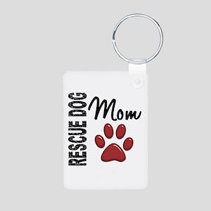 Rescue Dog Mom 2 Aluminum Photo Keychain