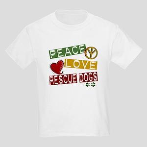 Peace Love Rescue Dogs Kids Light T-Shirt