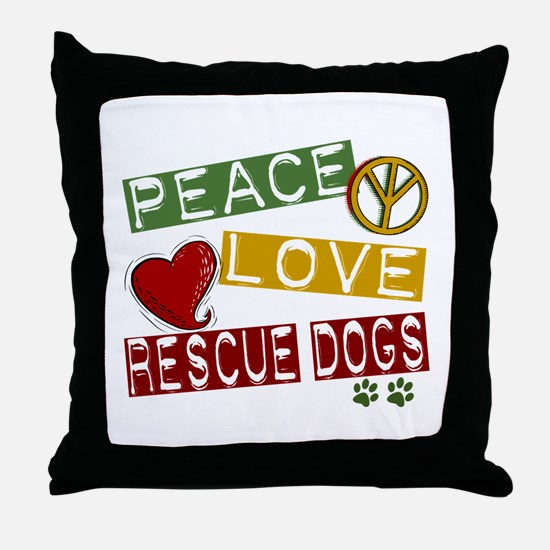 Peace Love Rescue Dogs Throw Pillow