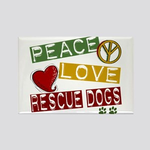 Peace Love Rescue Dogs Rectangle Magnet