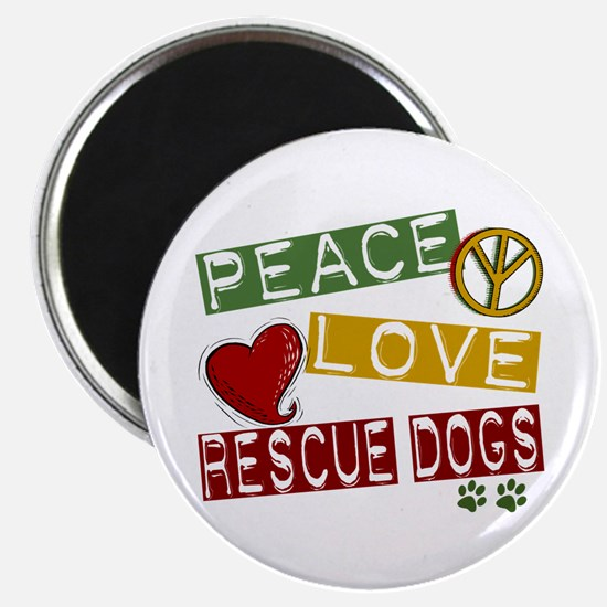 "Peace Love Rescue Dogs 2.25"" Magnet (10 pack)"
