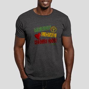 Peace Love Rescue Dogs Dark T-Shirt